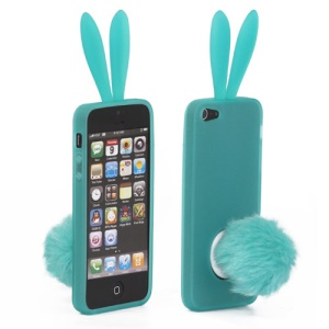 Cute Rabbit Ears TPU Gel Case with Velvet Stand for iPhone 5 - Green