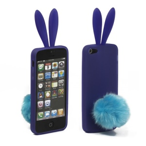 Cute Rabbit Ears iPhone 5 TPU Gel Case with Velvet Stand - Purple