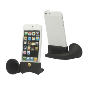 Silicone Horn Stand Amplifier Speaker for iPhone 5 - Black