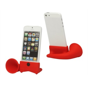 Silicone Horn Stand Amplifier Speaker for iPhone 5 - Red