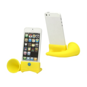 Silicone Horn Stand Amplifier Speaker for iPhone 5 - Yellow