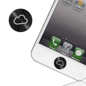 CD Vein Cloud Aluminum Metal Home Button Sticker for iPhone 5 4S iPod Touch 5 - Black