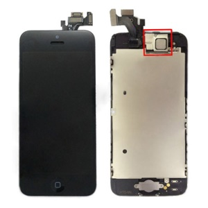 iPhone 5 LCD Assembly with Touch Screen and Other Parts (Digitizer Frame + Front Camera Lens + Home Button + Home Button Flex + Earpiece) - Black