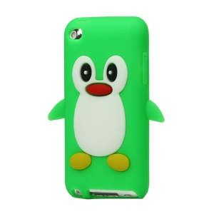 Cute Penguin Silicone Case Cover for iPod Touch 4 4G 4TH Gen - Green