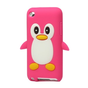 Cute Penguin Silicone Case Cover for iPod Touch 4 4G 4TH Gen - Rose