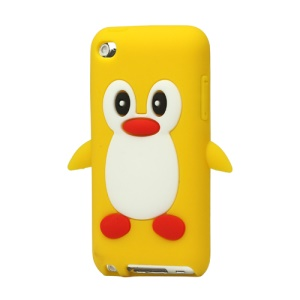 Cute Penguin Silicone Case Cover for iPod Touch 4 4G 4TH Gen - Yellow
