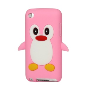Cute Penguin Silicone Case Cover for iPod Touch 4 4G 4TH Gen - Pink