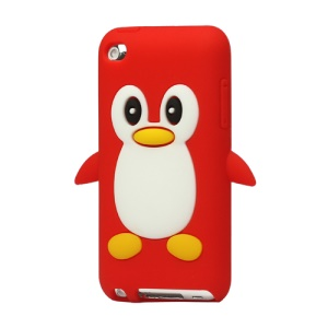 Cute Penguin Silicone Case Cover for iPod Touch 4 4G 4TH Gen - Red