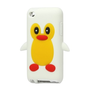 Cute Penguin Silicone Case Cover for iPod Touch 4 4G 4TH Gen - White