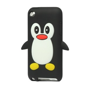 Cute Penguin Silicone Case Cover for iPod Touch 4 4G 4TH Gen - Black