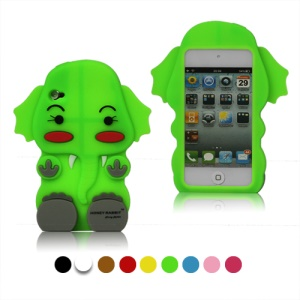 Lovely 3D Short Ears Elephant Silicone Case Cover for iPod Touch 4 4G 4TH Gen