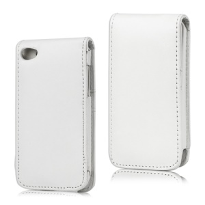 Vertical Leather Flip Case for iPod Touch 4 - White