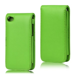 Vertical Leather Flip Case for iPod Touch 4 - Green
