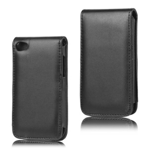 Vertical Leather Flip Case for iPod Touch 4 - Black