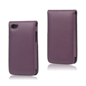 Vertical Leather Flip Case for iPod Touch 4 - Purple