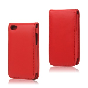 Vertical Leather Flip Case for iPod Touch 4 - Red