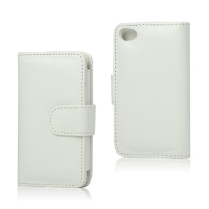 Wallet Leather Flip Case for iPod Touch 4 - White