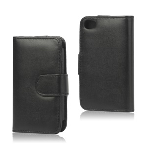 Wallet Leather Flip Case for iPod Touch 4 - Black