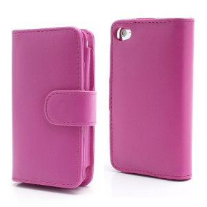 Wallet Leather Flip Case for iPod Touch 4 - Rose