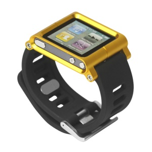 Aluminum Bracelet Watch Band Wrist Cover Case for iPod Nano 6 6th Gen - Yellow