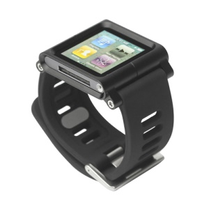 Aluminum Bracelet Watch Band Wrist Cover Case for iPod Nano 6 6th Gen - Black