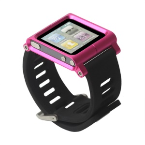 Aluminum Bracelet Watch Band Wrist Cover Case for iPod Nano 6 6th Gen - Rose