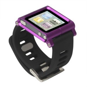 Aluminum Bracelet Watch Band Wrist Cover Case for iPod Nano 6 6th Gen - Purple