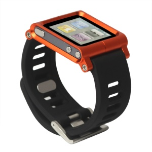 Aluminum Bracelet Watch Band Wrist Cover Case for iPod Nano 6 6th Gen - Orange