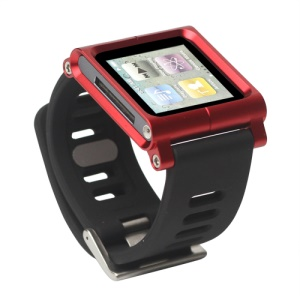 Aluminum Bracelet Watch Band Wrist Cover Case for iPod Nano 6 6th Gen - Red