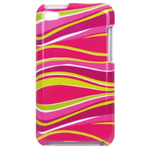Snap-on Colorized Stripes Pattern Hard Plastic Case for iPod Touch 4