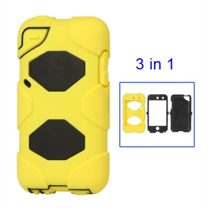 Snap-on Defender Case Cover for iPod Touch 4 4G - Black / Yellow