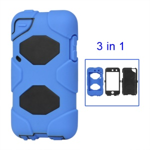 Snap-on Defender Case Cover for iPod Touch 4 4G - Black / Blue