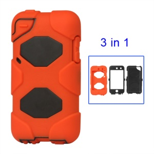 Snap-on Defender Case Cover for iPod Touch 4 4G - Black / Orange