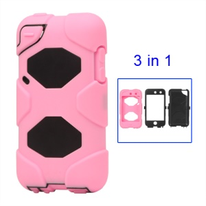 Snap-on Defender Case Cover for iPod Touch 4 4G - Black / Pink