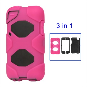 Snap-on Defender Case Cover for iPod Touch 4 4G - Black / Rose