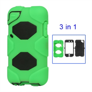 Snap-on Defender Case Cover for iPod Touch 4 4G - Black / Green