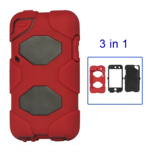 Snap-on Defender Case Cover for iPod Touch 4 4G - Black / Red