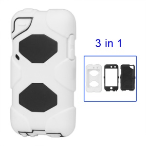 Snap-on Defender Case Cover for iPod Touch 4 4G - Black / White