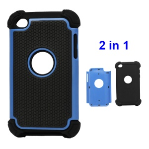Textured Defender Case Cover for iPod Touch 4 - Black / Blue