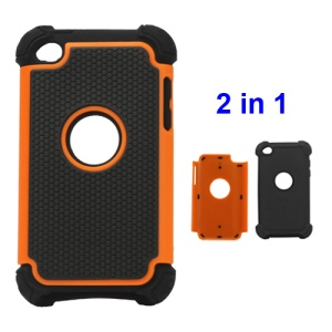 Textured Defender Case Cover for iPod Touch 4 - Black / Orange