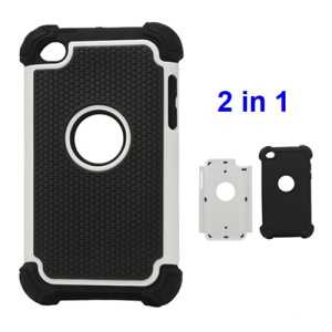 Textured Defender Case Cover for iPod Touch 4 - Black / White
