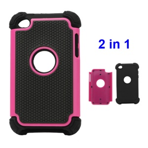 Textured Defender Case Cover for iPod Touch 4 - Black / Rose