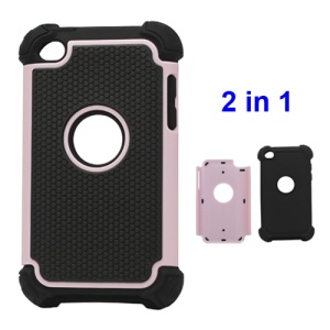 Textured Defender Case Cover for iPod Touch 4 - Black / Pink