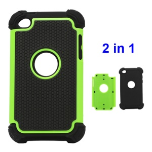 Textured Defender Case Cover for iPod Touch 4 - Black / Green