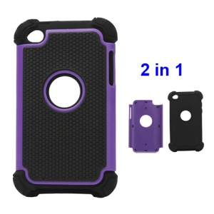 Textured Defender Case Cover for iPod Touch 4 - Black / Purple