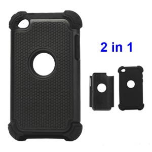 Textured Defender Case Cover for iPod Touch 4 - Black