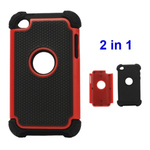 Textured Defender Case Cover for iPod Touch 4 - Black / Red
