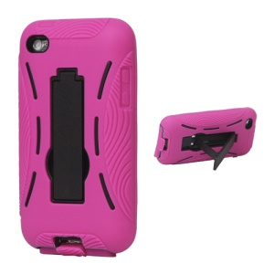 Snap-on Defender Case Cover with Stand for iPod Touch 4 - Rose