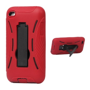 Snap-on Defender Case Cover with Stand for iPod Touch 4 - Red