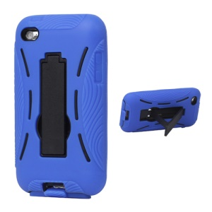 Snap-on Defender Case Cover with Stand for iPod Touch 4 - Blue